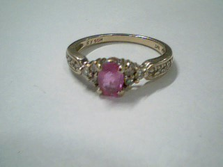 Pink Stone Lady's Stone & Diamond Ring 14 Diamonds .26 Carat T.W.