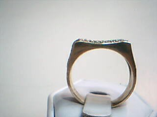 White Stone Gent's Stone Ring 10K Yellow Gold 5.5g