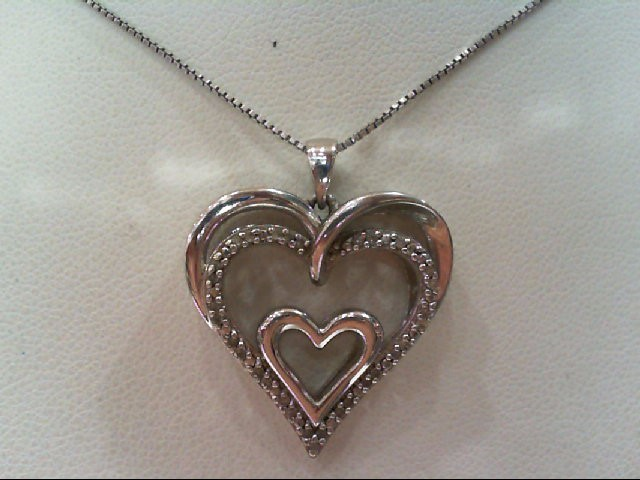 Silver-Diamond Pendant 25 Diamonds .125 Carat T.W. 925 Silver 5.5g