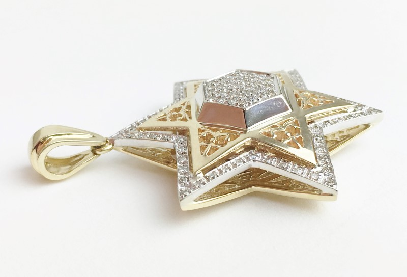14K YG DIAMOND STAR OF DAVID PENDANT APX .98CTW 10.14G