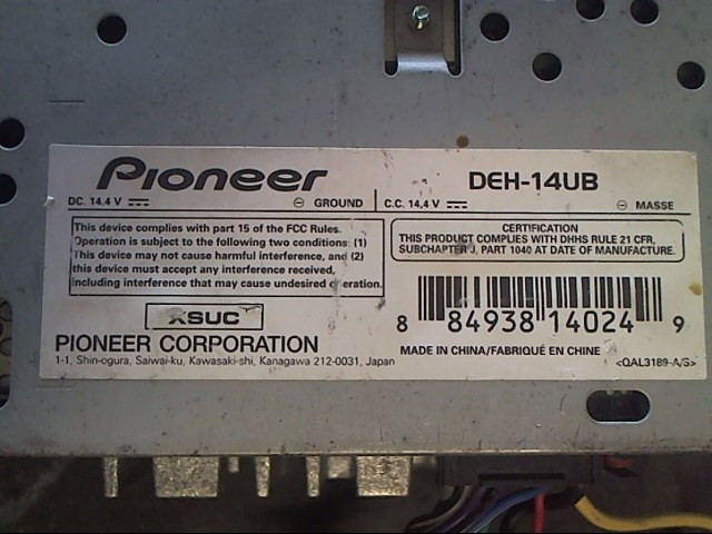 PIONEER ELECTRONICS Car Audio DEH-14UB