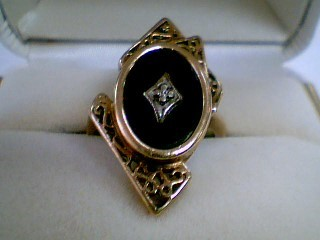Synthetic Onyx Lady's Stone & Diamond Ring .01 CT. 10K Yellow Gold 4g Size:6