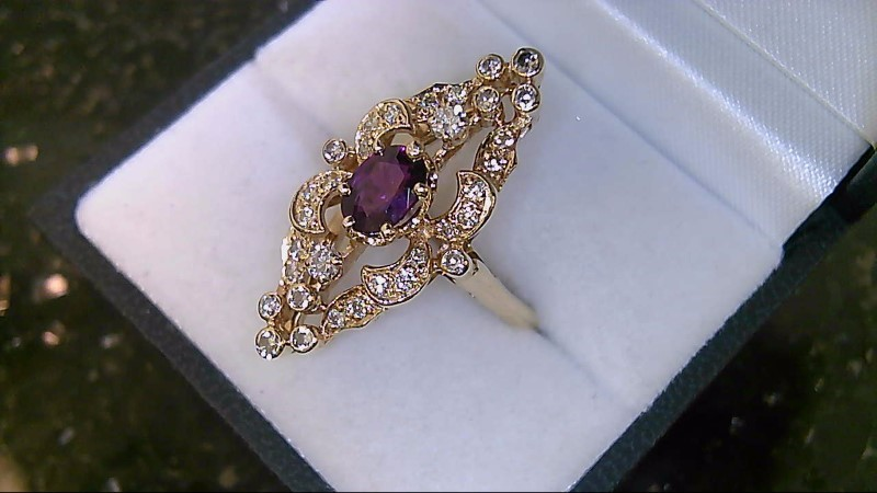 Almandite Garnet Lady's Stone & Diamond Ring 32 Diamonds .42 Carat T.W.