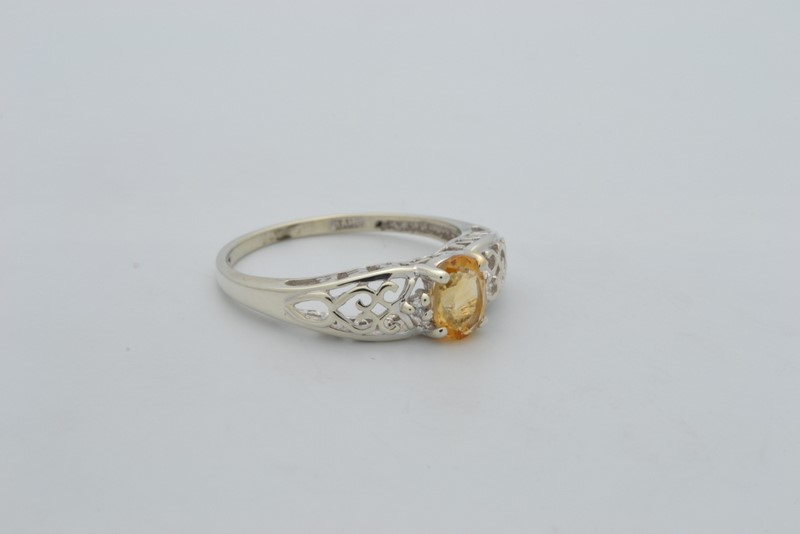 ESTATE DIAMOND CITRINE YELLOW RING SOLID 10K WHITE GOLD OVAL SIZE 7