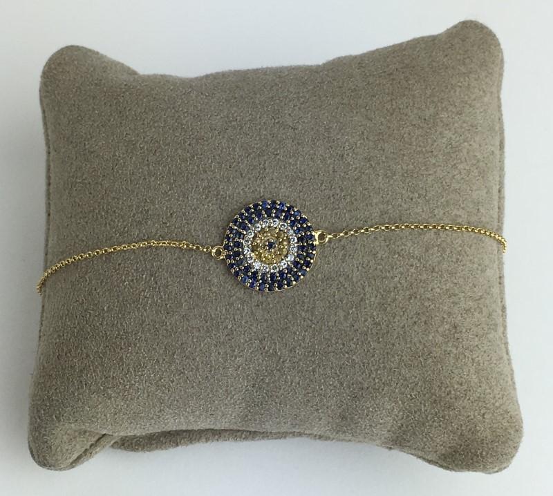 Diamond Sapphire Bracelet 18K Yellow Gold 3.2g