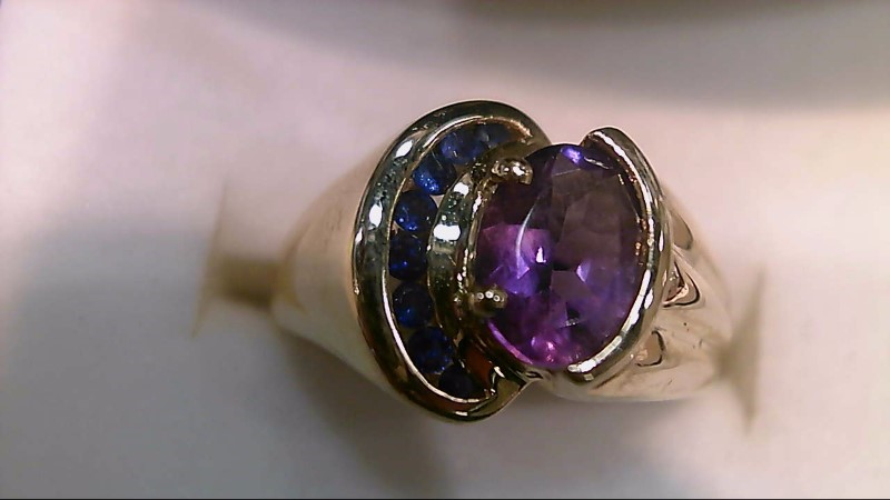 Purple Stone Lady's Stone Ring 10K Yellow Gold 5.2g Size:6
