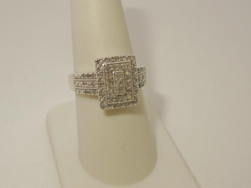 Lady's Silver-Diamond Ring 51 Diamonds .153 Carat T.W. 925 Silver 4.4g Size:8