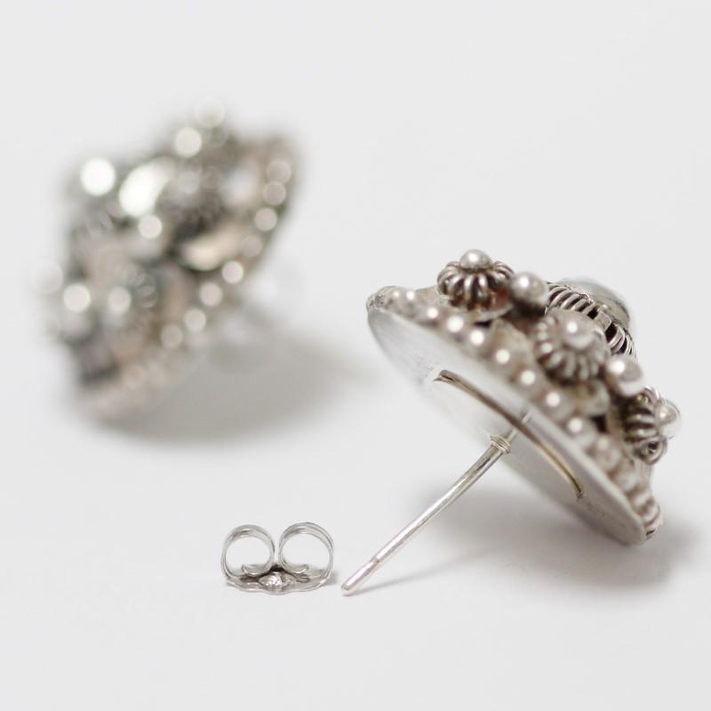 Vintage Inspired Floral Sterling Silver Stud Earrings