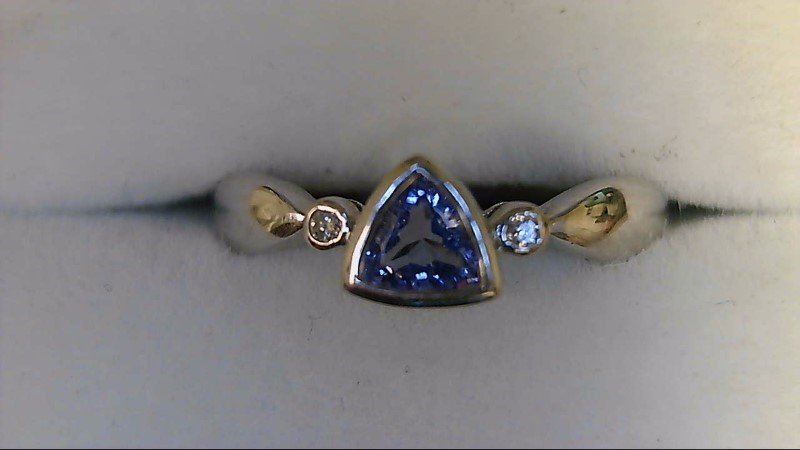 Synthetic Tanzanite Lady's Stone & Diamond 14K White Gold Ring