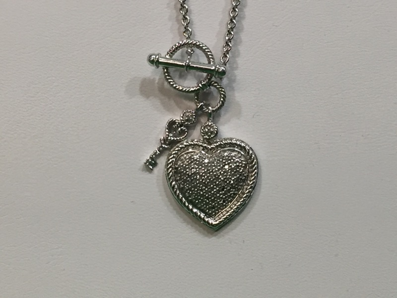 Diamond Heart and Key Necklace 68 Diamonds .34 CTW 925 Silver 11g