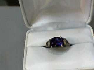 Synthetic Alexandrite Lady's Stone & Diamond Ring 4 Diamonds .04 Carat T.W.