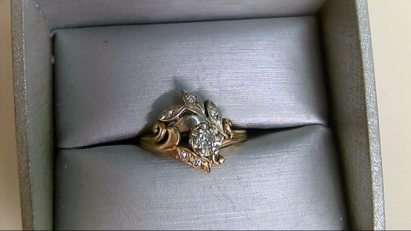 Lady's Diamond Fashion Ring 6 Diamonds .20 Carat T.W. 14K 2 Tone Gold 3.7g