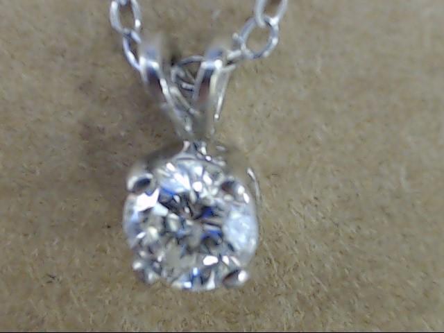 VINTAGE NATURAL DIAMOND SOLITAIRE PENDANT NECKLACE 14K WHITE GOLD