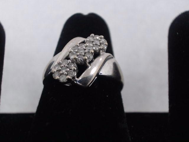 Lady's Diamond Fashion Ring 21 Diamonds .42 Carat T.W. 10K White Gold 2.2g