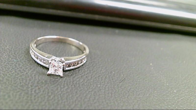 Lady's Diamond Engagement Ring 13 Diamonds 1.63 Carat T.W. 14K White Gold 2.9g