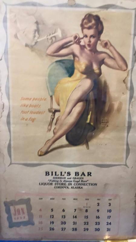JAN 1953 CALENDAR GIRL BILL'S BAR