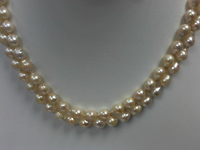"26"" Pearl Strand Stone Necklace 14K Yellow Gold 51.8g"