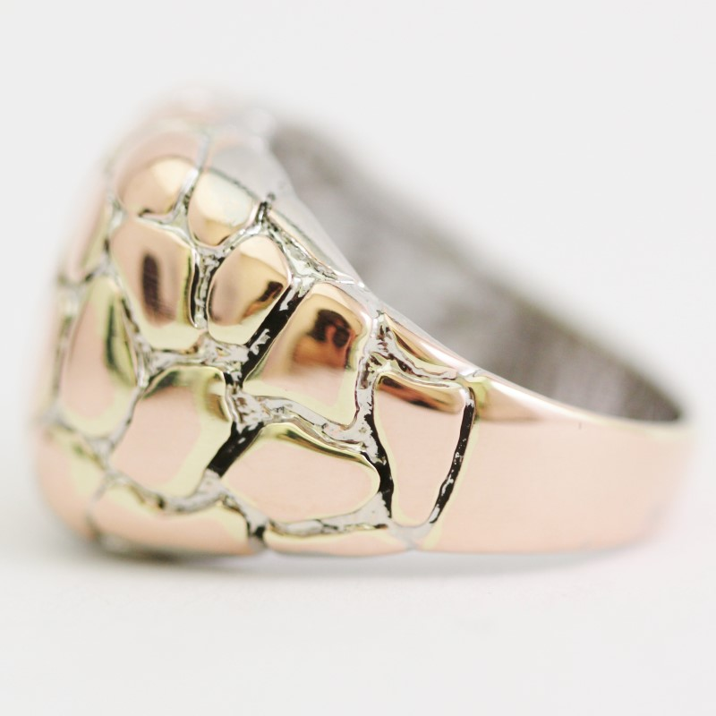 Rose-Gold Toned Sterling Silver Nugget Ring Size 9