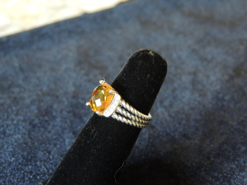 DAVID YURMAN WHEATON PETITE 10 X 8 CITRINE DIAMOND STERLING AUTHENTIC