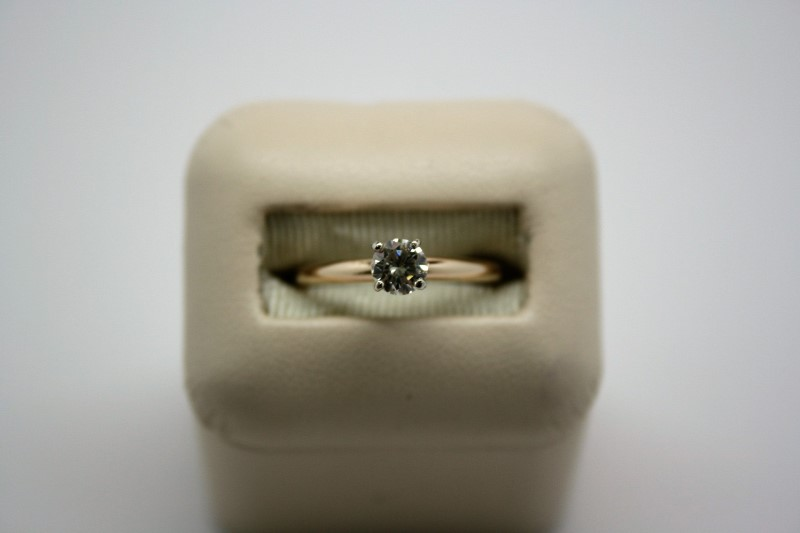 LADY'S SOLITAIRE DIAMOND RING 14K YELLOW GOLD