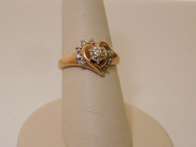 Lady's Diamond Solitaire Ring 8 Diamonds .12 Carat T.W. 14K Yellow Gold 2.8g