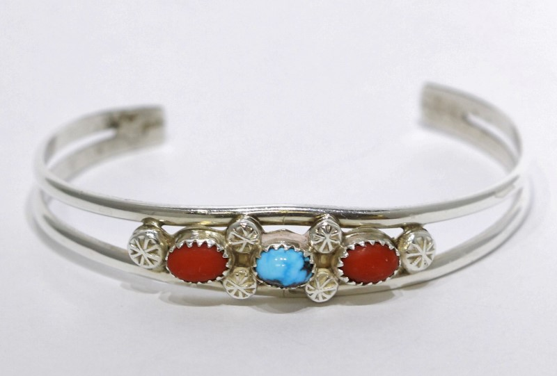 Sterling Silver Southwest Inspired Oval Turquoise and Coral Cuff Bracelet