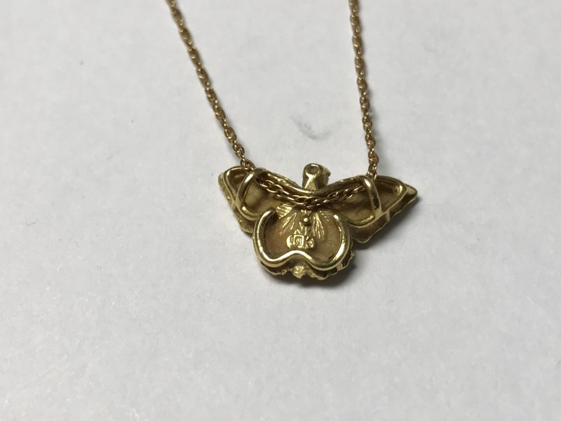 "GOLD BUTTERFLY PENDANT 18KT Yellow Gold 1.7 GRAMS, WITH 1 GRAM 14KT. 16"" CHAIN"
