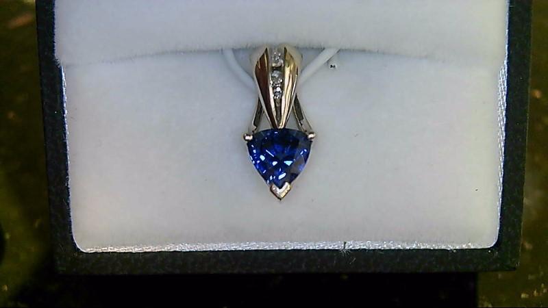 Synthetic Sapphire Gold-Diamond & Stone Pendant 3 Diamonds .05 Carat T.W.
