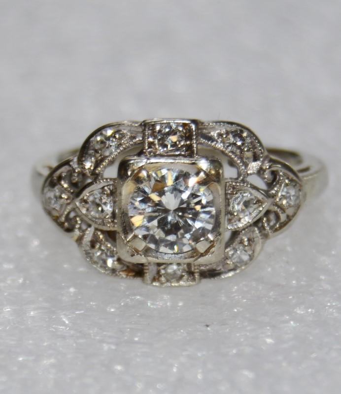 Vintage 14K White Gold Cathedral Set Floral Diamond VS2 Engagement Ring sz 3.75