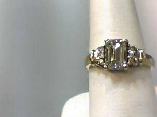 Lady's Diamond Engagement Ring 7 Diamonds 1.21 Carat T.W. 14K 2 Tone Gold