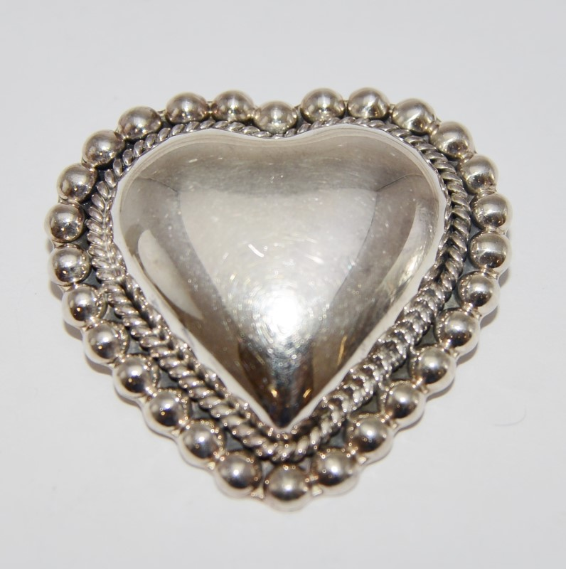 Sterling Silver 925 Mexico Puffy Polished Heart Pendant Brooch Pin