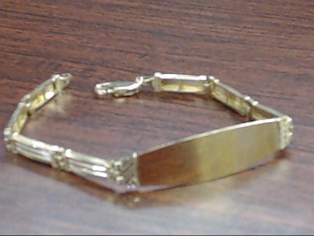 """VINTAGE SOLID REAL 14K GOLD ID BRACELET TRI TONE LINK ENGRAVE 7.5"""""""