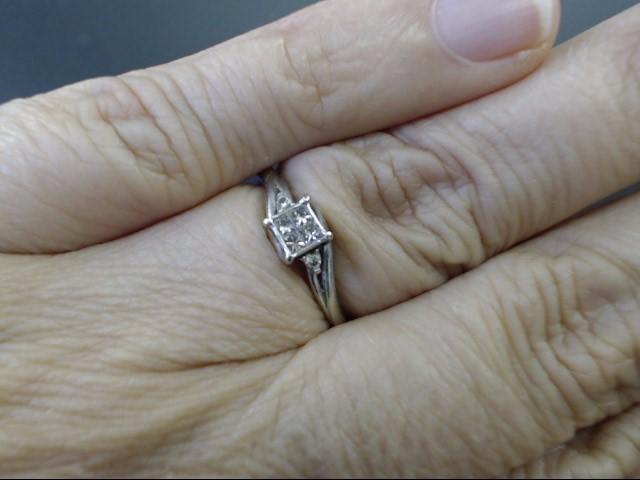 ESTATE PRINCESS DIAMOND ENGAGE WED RING SOLID 10K WHITE GOLD SZ 5.25