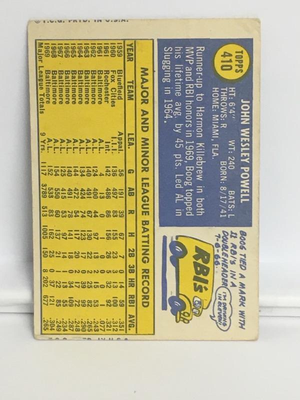 1970 TOPPS BOOG POWELL #410 BALTIMORE ORIOLES