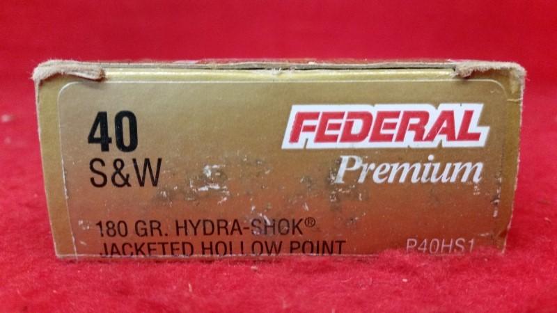Federal Premium 40 S&W 180gr Hydra Shok JHP Ammo