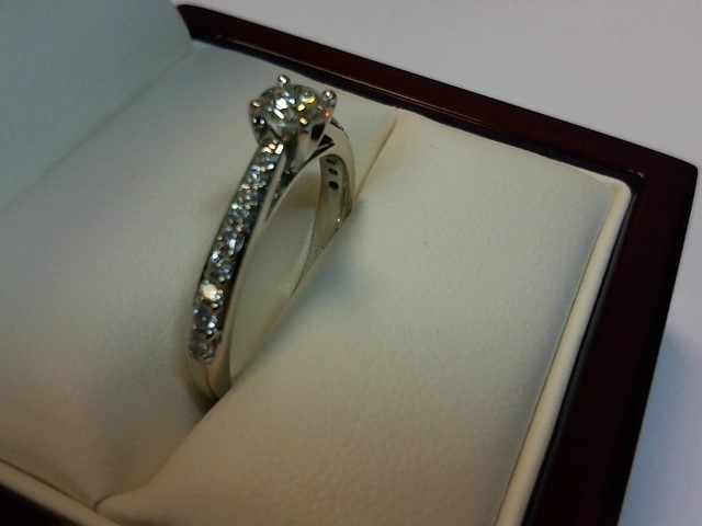 Lady's Diamond Solitaire Ring 19 Diamonds .53 Carat T.W. 10K White Gold 2dwt