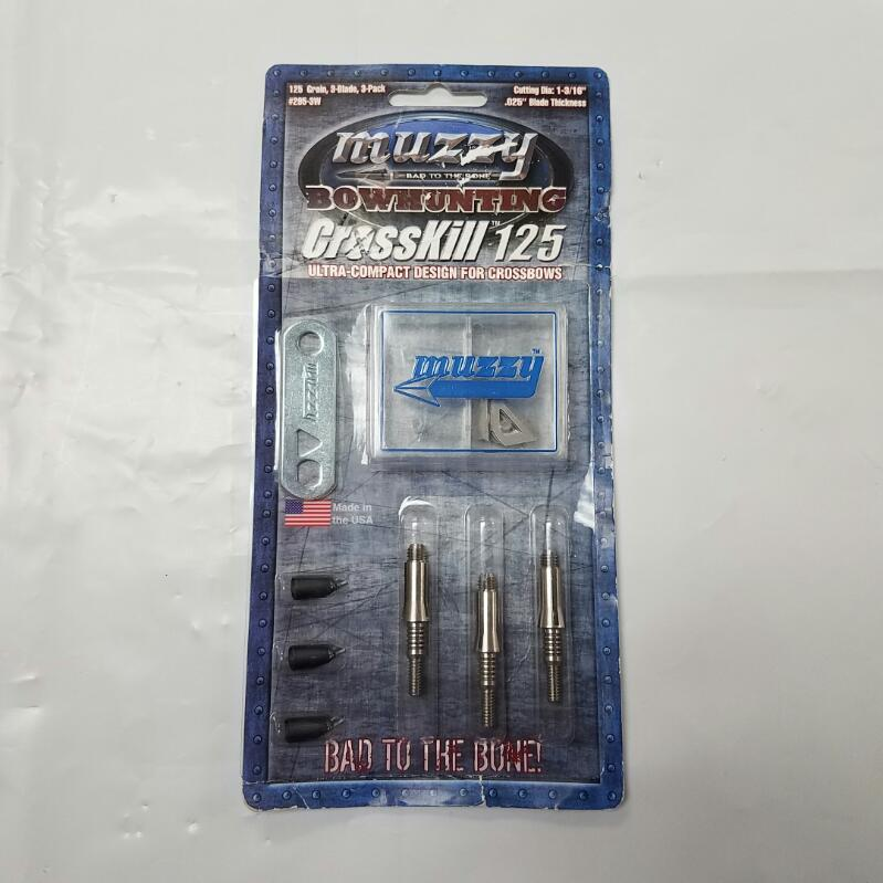 NEW Muzzy Crosskill 125-Grain 3-Blade Crossbow Broadhead 3-Pack #295