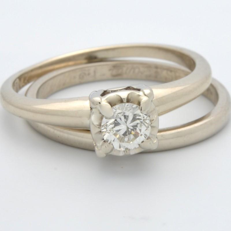 ESTATE DIAMOND WEDDING SET RING BAND SOLID 14K WHITE GOLD SIZE 5.5