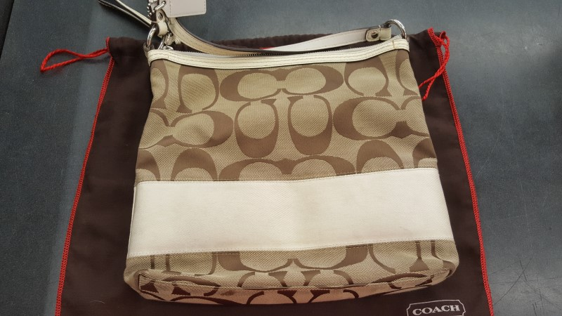 COACH Handbag F13674 SIGNATURE STRIPE SHOULDER BAG