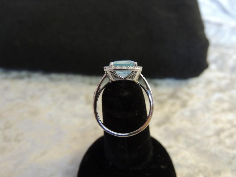 Synthetic Blue Topaz Lady's Stone & Diamond Ring 24 Diamonds .24 Carat T.W.
