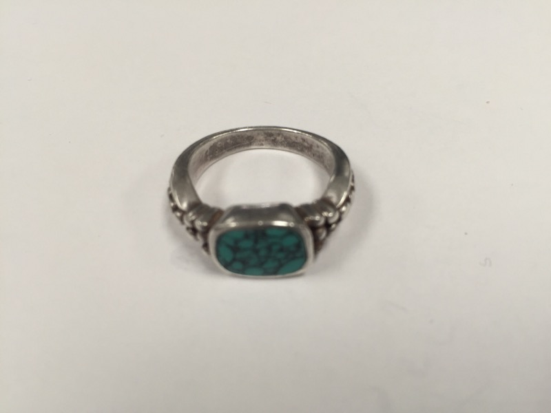 Turquoise Lady's Silver & Stone Ring 925 Silver 5.8g Size:6.5