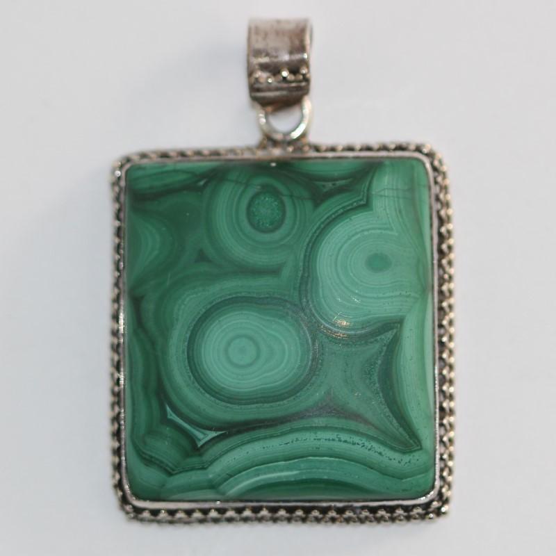 Sterling Silver Malachite Square Pendant