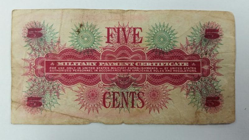 U.S. Military Five Cent 5c Payment Certificate Series 661