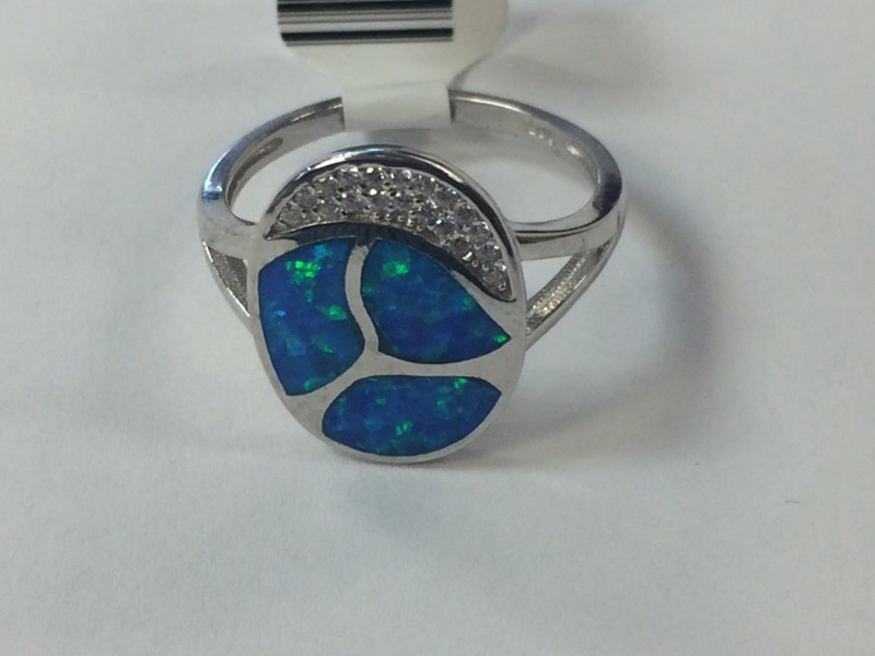 Synthetic Opal Lady's Silver & Stone Ring 925 Silver 3.4g