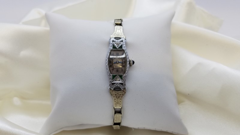 BULOVA Lady's Wristwatch Art Deco with Emeralds & Diamonds