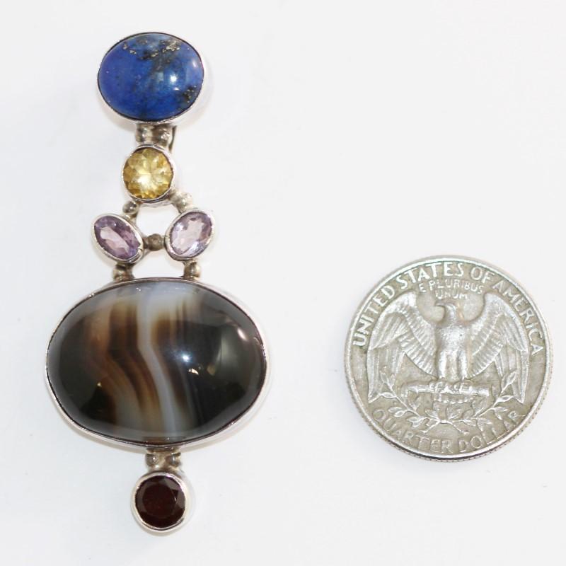 Agate, Lapis, Garnet & Amethyst Stone Silver Pendant