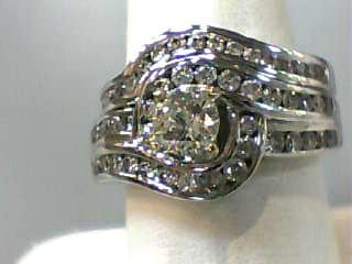 Lady's Diamond Wedding Set 34 Diamonds 1.49 Carat T.W. 14K White Gold 7.3dwt