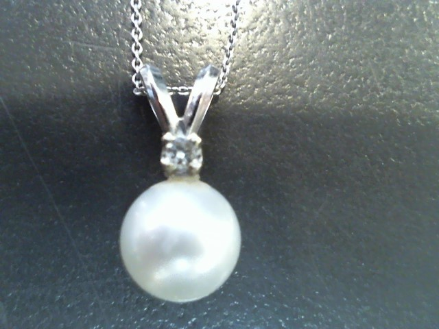 Synthetic Pearl Gold-Diamond & Stone Pendant .01 CT. 14K White Gold 1.8g
