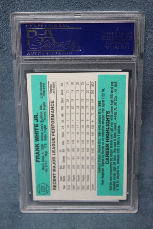 Frank White 1984 Donruss Kansas City Royals #222 PSA NM 7