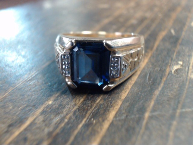 Blue Stone Gent's Stone & Diamond Ring 6 Diamonds .06 Carat T.W.